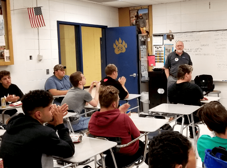 Axcet's Safety Consultant teaches William Chrisman High School (Independence, MIssouri) students about shop safety.
